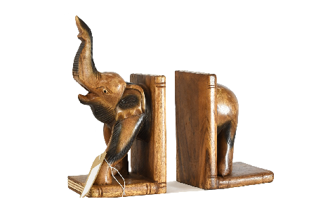 Wooden Elephant Bookends