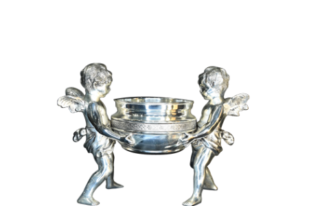 Cherub Urn with Antique Silver Finish