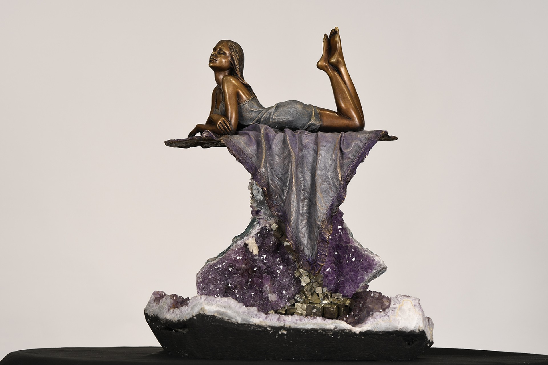 Bronze Sculpture Amethyst Crystal