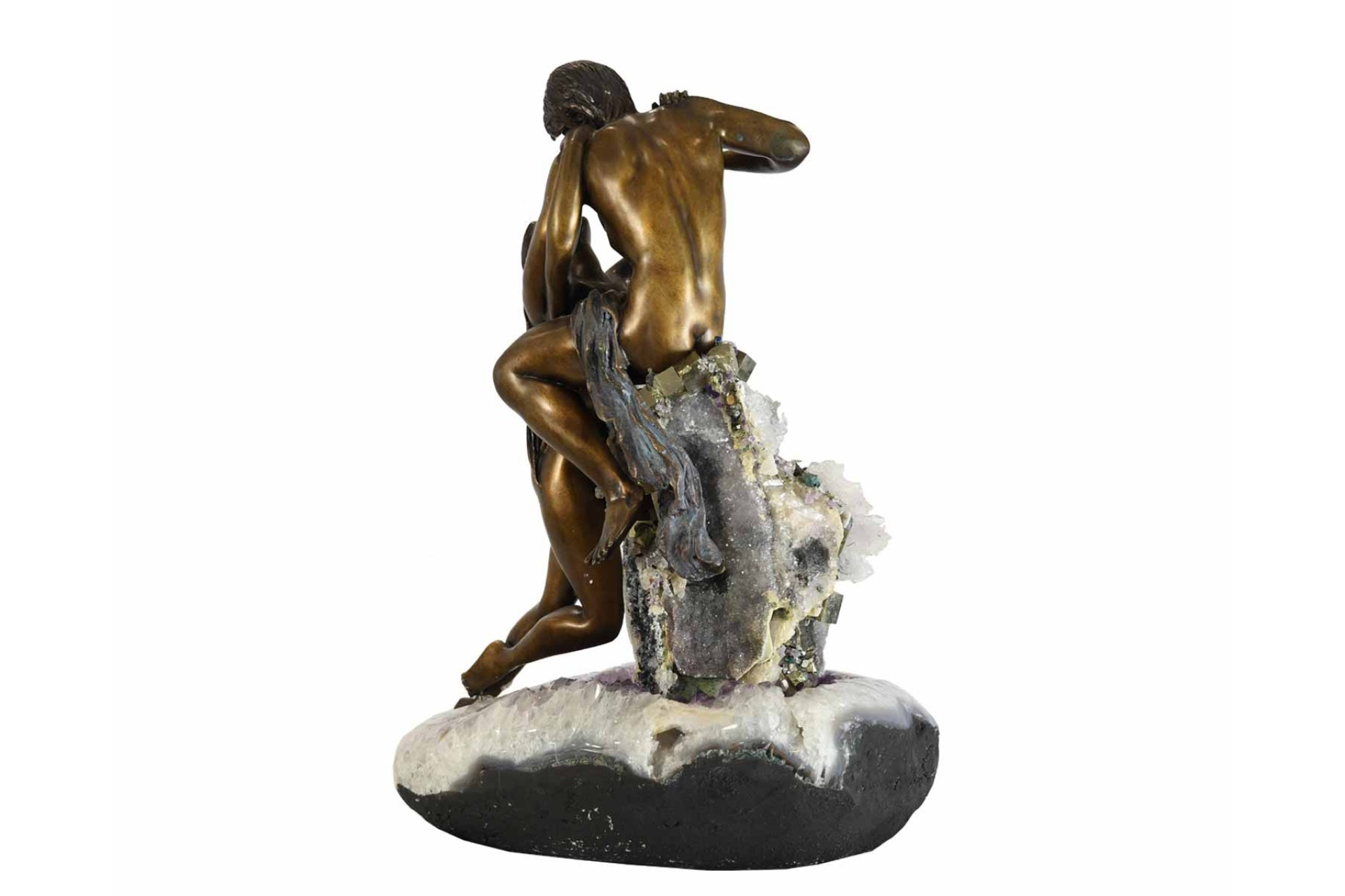 solid bronze couple on amethyst