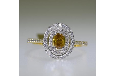 Oval Cognac Diamond Ring