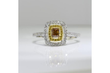 Square Cognac Diamond Ring