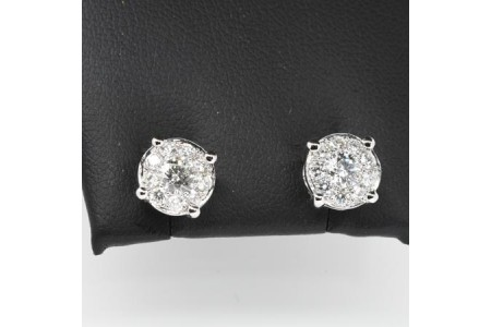 Pair of Round Diamond Earrings.
