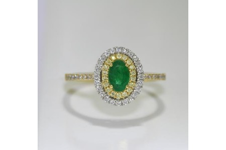 Emerald, Yellow & White Diamond Ring