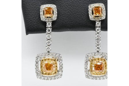 Cognac, White & Yellow Diamond Earrings