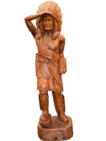 Tall 8ft HAND CARVED Wooden Indian