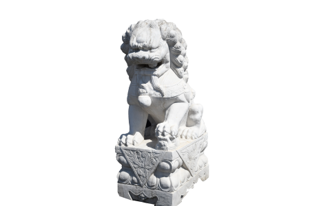 large 5ft pair of solid marble lions