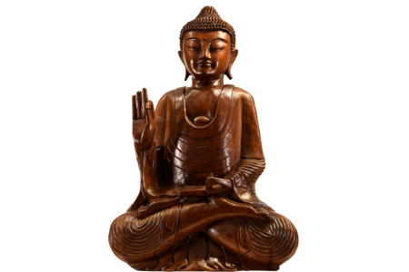 LARGE HAND CARVED WOODEN BUDDHA