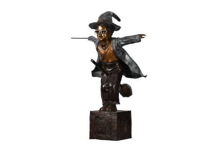 LARGE 4ft BRONZE WIZARD FIGURE