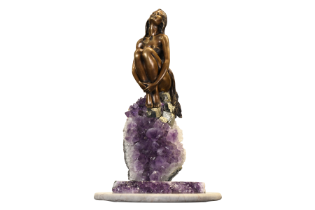 BRONZE LADY ON AMETHYST