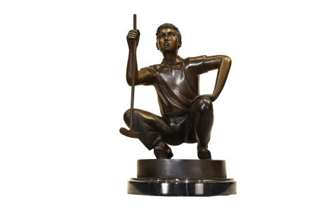 BRONZE GOLFER ON MARBLE
