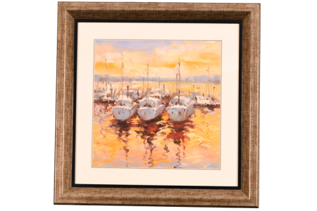 ORIGINAL PAINTING OF YACHTS IN HARBOUR