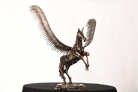 Hand Made Pegasus Metal Sculpture
