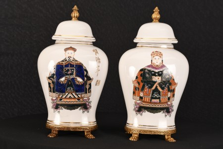 PAIR OF ORIENTAL WHITE PORCELAIN TEMPLE JARS