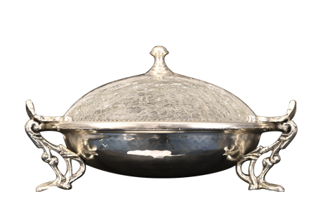 SILVER BOWL WITH GLASS LID