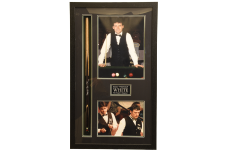 FRAMED SIGNED JIMMY WHITE CUE