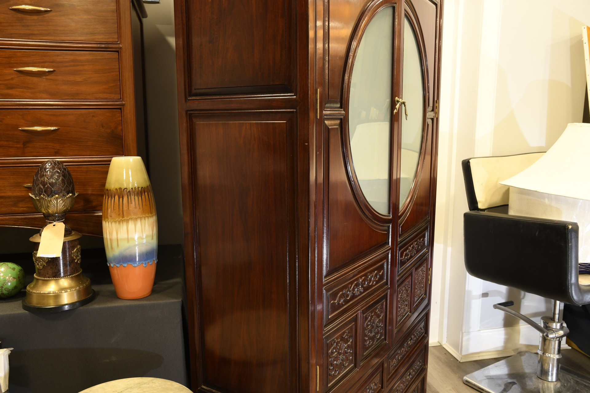 SOLID ROSEWOOD CARVED CABINET