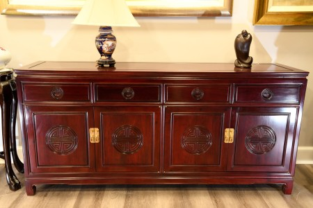 SOLID ROSEWOOD CARVED 6FT SIDEBOARD