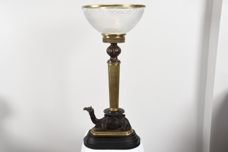 Cut Glass Bowl with Brass Camel base