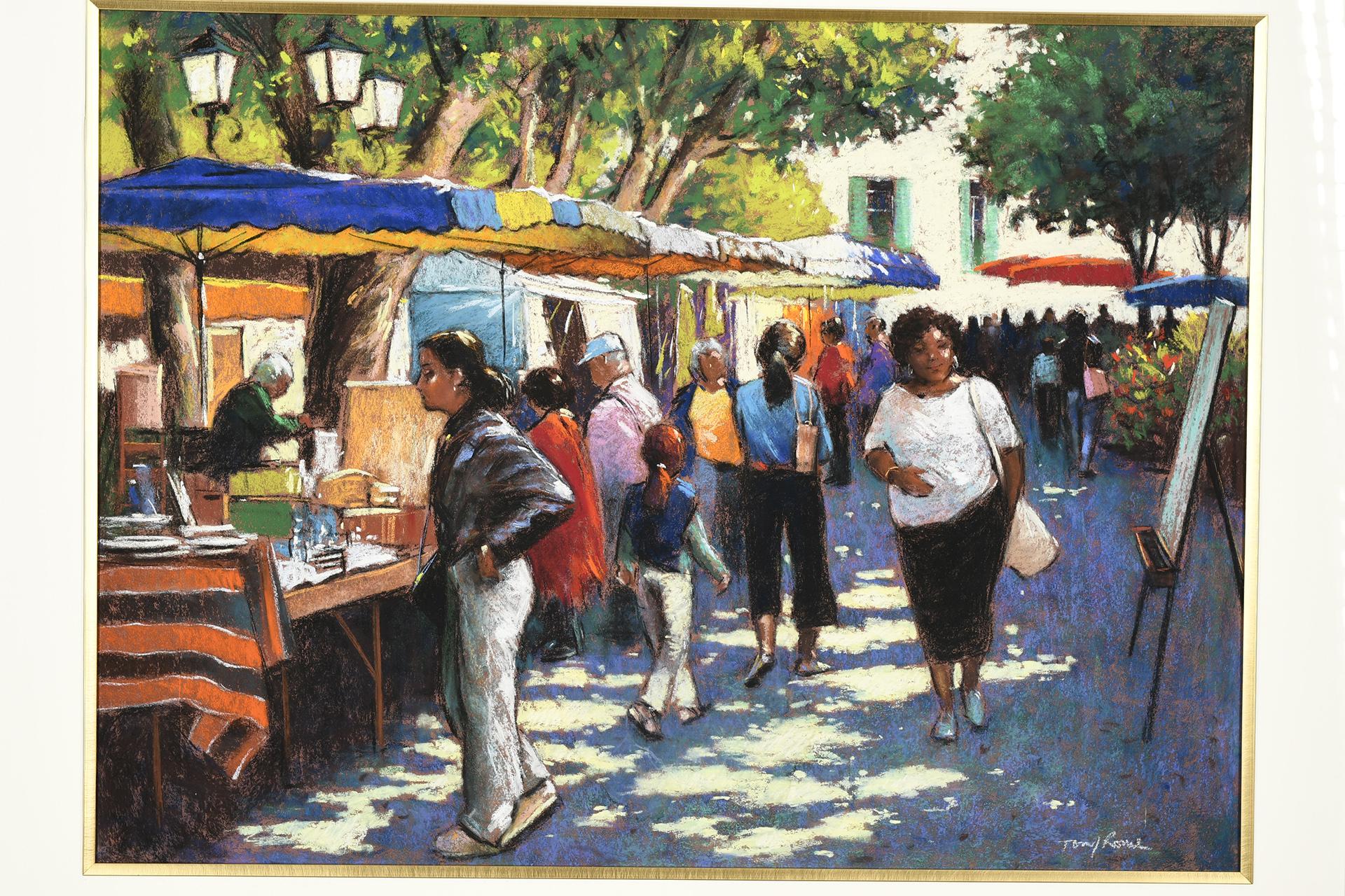 Tony Rome Original Pastel Market Scene