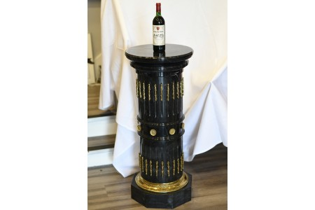 1m High Solid Black Marble Column