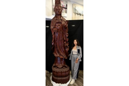 Amazing 10ft Wooden Carved Guan Yin Figure