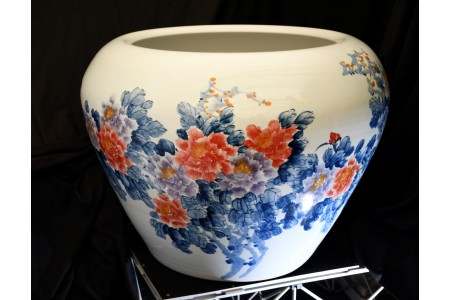 Very Large Hand Painted Chinese Porcelain Fish Bowl