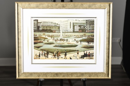 "Limited Edition L.S Lowry ""Piccadilly Gardens"" Authentication & Embosed Stamped. Mint Condition."