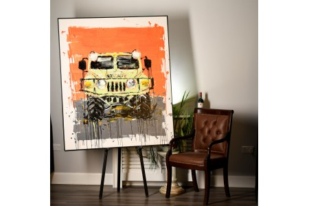 Very Large Striking Original Oil on Canvas of a 4x4