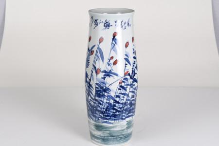 White and Blue Hand Made Chinese Art Vase