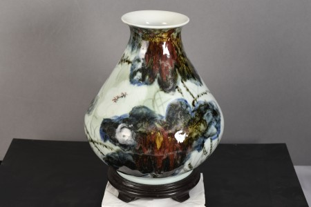 Original Oriental Chinese Porcelain Vase with Floral Design