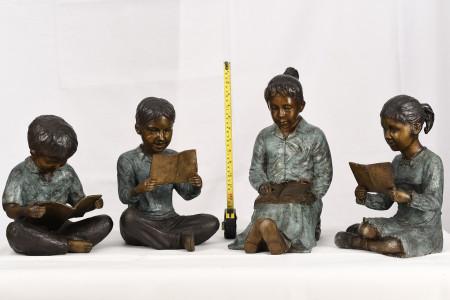 Set of  4 Bronze Reading Children