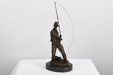 Bronze Fisherman Sculpture