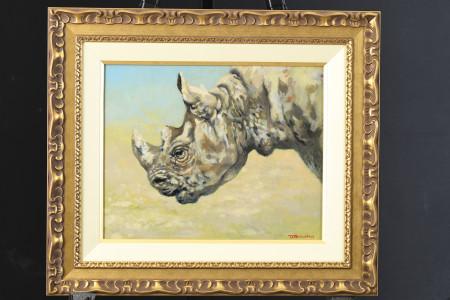 """Original Oil Painting by Joel Kirk """"White Rhino"""""""
