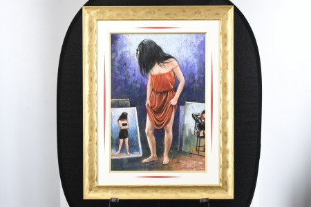Anthony Orme Painting Lady in Red Dress