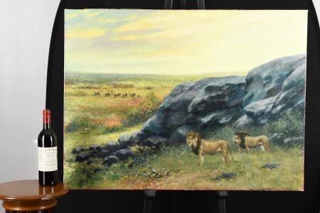 """Joel Kirk Original Oil on Canvas """"Pride of Africa"""""""