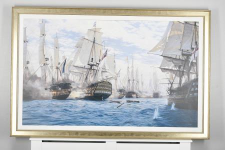 "Framed Limited Edition on Canvas by World Renowned Marine Artist Steven Dews ""The Battle of Trafalgar"""