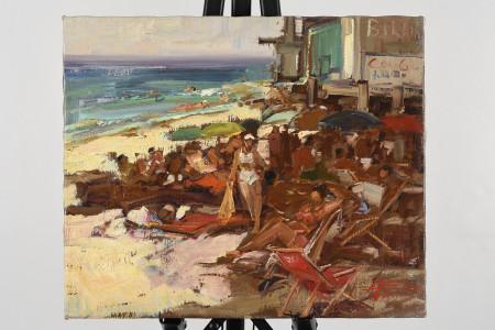 Original Oil Beach Scene by Italian artist  Gravina.