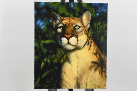 Mountain Lion Painting by English Artist Terence Vickress